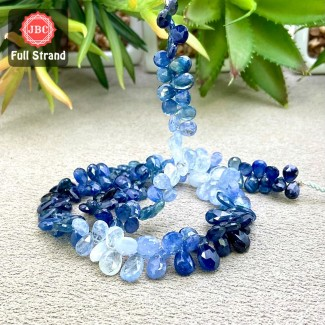 Blue Sapphire 6-11mm Faceted Pear Shape 16 Inch Long Gemstone Beads Strand - SKU:158384