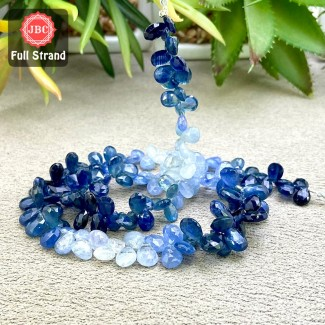 Blue Sapphire 6-11mm Faceted Pear Shape 16 Inch Long Gemstone Beads Strand - SKU:158382