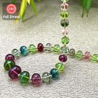 Multi Tourmaline 6.5-11.5mm Smooth Rondelle Shape 9 Inch Long Gemstone Beads Strand - SKU:157548